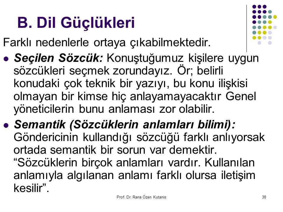 Prof. Dr. Rana Özen Kutanis38 B. Dil Güçlükleri Farklı nedenlerle ortaya çıkabilmektedir. Seçilen Sözcük: Konuştuğumuz kişilere uygun sözcükleri seçme