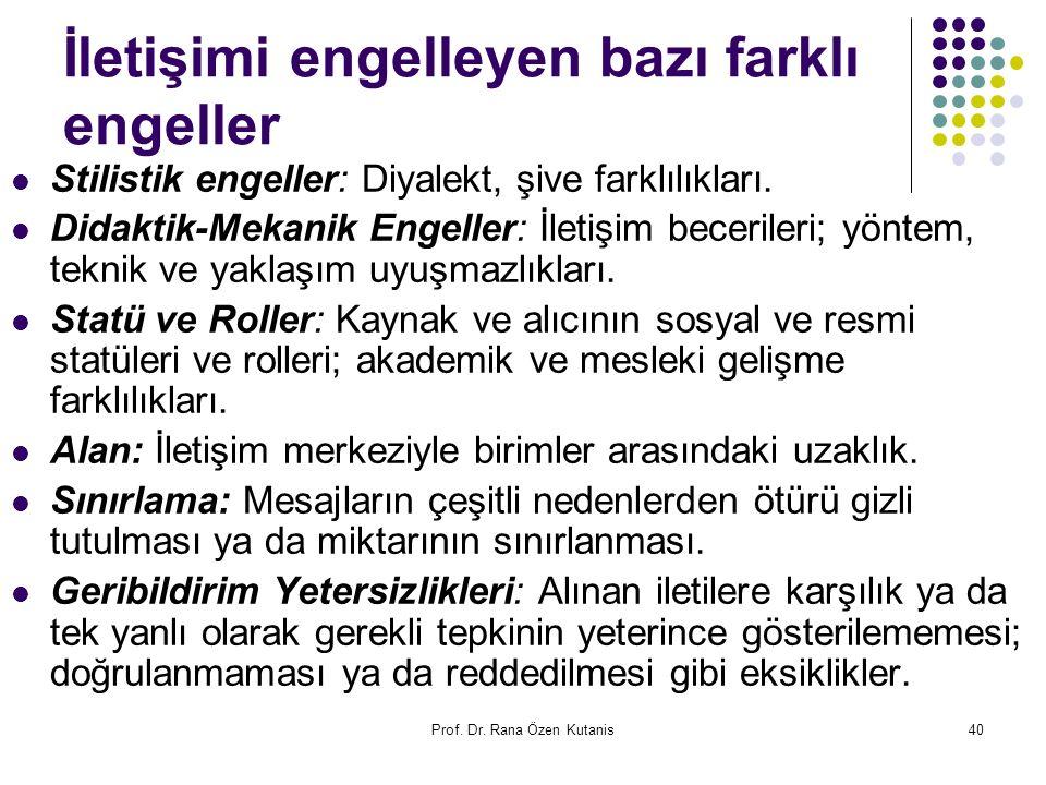 Prof. Dr. Rana Özen Kutanis40 İletişimi engelleyen bazı farklı engeller Stilistik engeller: Diyalekt, şive farklılıkları. Didaktik-Mekanik Engeller: İ