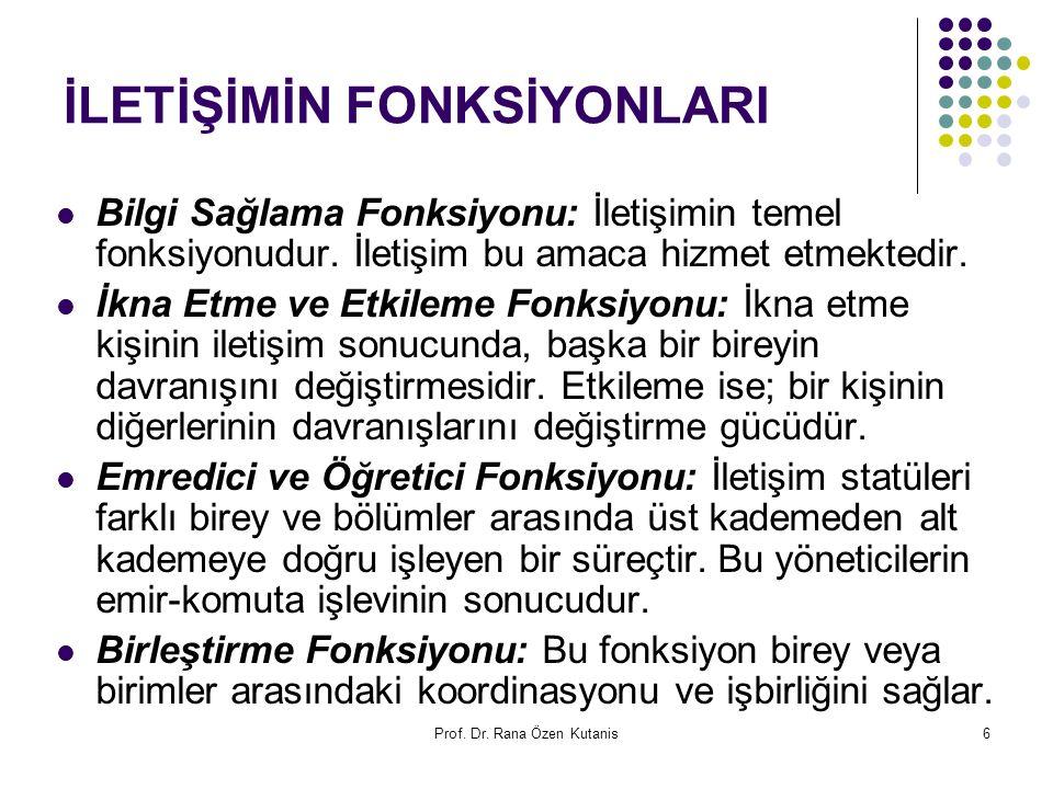 Prof. Dr. Rana Özen Kutanis6 İLETİŞİMİN FONKSİYONLARI Bilgi Sağlama Fonksiyonu: İletişimin temel fonksiyonudur. İletişim bu amaca hizmet etmektedir. İ