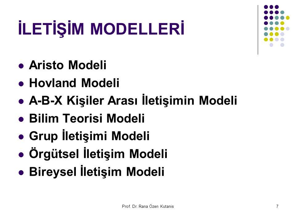 Prof. Dr. Rana Özen Kutanis7 İLETİŞİM MODELLERİ Aristo Modeli Hovland Modeli A-B-X Kişiler Arası İletişimin Modeli Bilim Teorisi Modeli Grup İletişimi