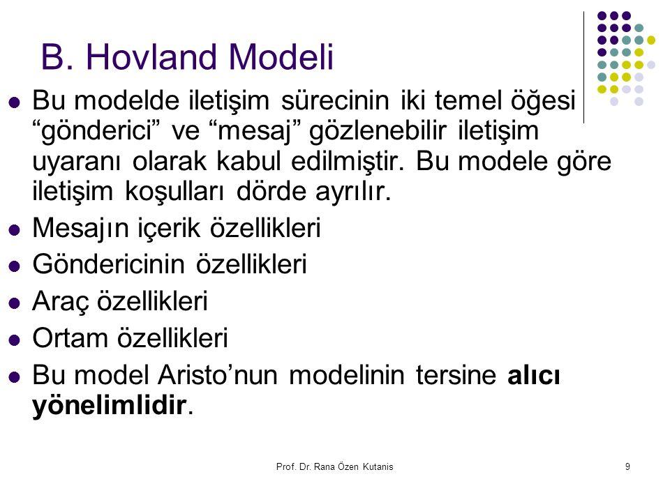 """Prof. Dr. Rana Özen Kutanis9 B. Hovland Modeli Bu modelde iletişim sürecinin iki temel öğesi """"gönderici"""" ve """"mesaj"""" gözlenebilir iletişim uyaranı olar"""