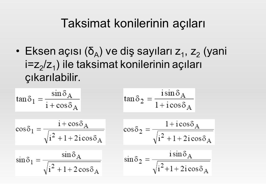 Taksimat konilerinin açıları Eksen açısı (δ A ) ve diş sayıları z 1, z 2 (yani i=z 2 /z 1 ) ile taksimat konilerinin açıları çıkarılabilir.
