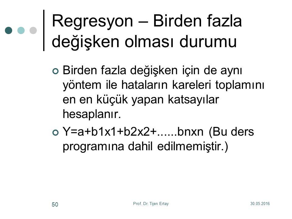 Regresyon – Birden fazla değişken olması durumu Birden fazla değişken için de aynı yöntem ile hataların kareleri toplamını en en küçük yapan katsayılar hesaplanır.