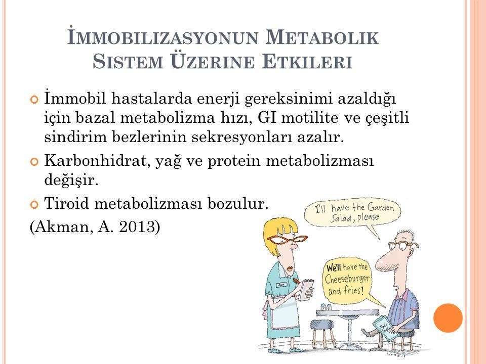 İ MMOBILIZASYONUN M ETABOLIK S ISTEM Ü ZERINE E TKILERI İmmobil hastalarda enerji gereksinimi azaldığı için bazal metabolizma hızı, GI motilite ve çeşitli sindirim bezlerinin sekresyonları azalır.