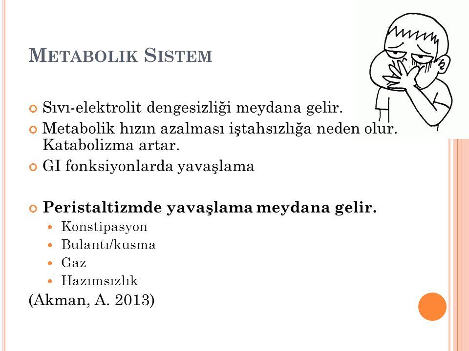 M ETABOLIK S ISTEM Sıvı-elektrolit dengesizliği meydana gelir.