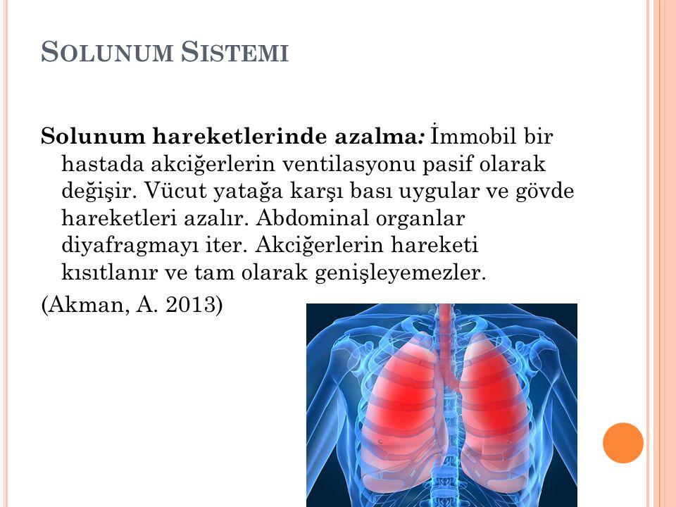 S OLUNUM S ISTEMI Solunum hareketlerinde azalma : İmmobil bir hastada akciğerlerin ventilasyonu pasif olarak değişir.