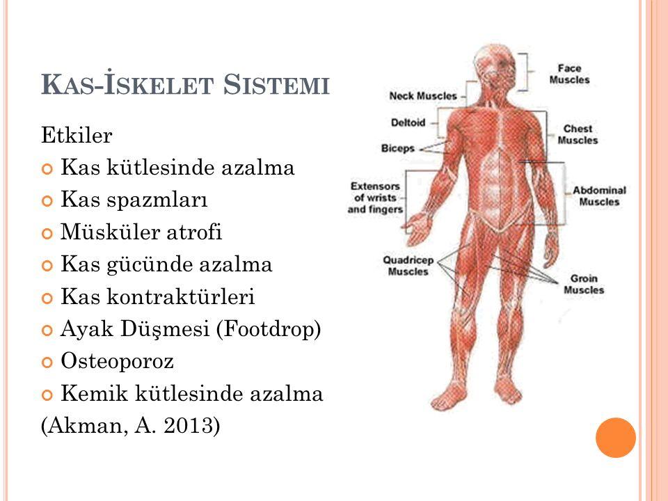 K AS -İ SKELET S ISTEMI Etkiler Kas kütlesinde azalma Kas spazmları Müsküler atrofi Kas gücünde azalma Kas kontraktürleri Ayak Düşmesi (Footdrop) Osteoporoz Kemik kütlesinde azalma (Akman, A.
