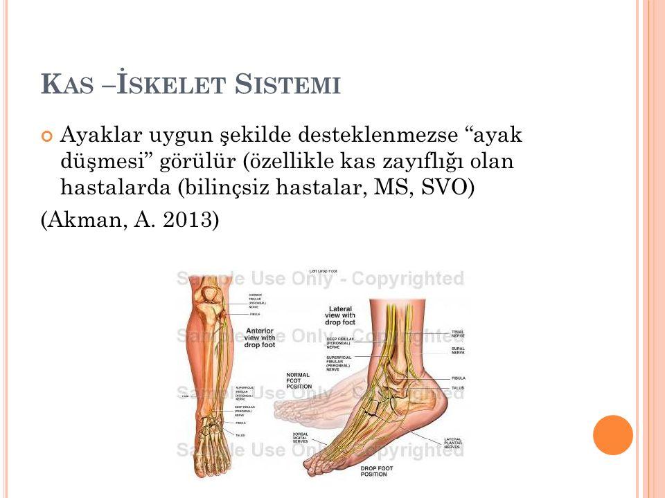 K AS –İ SKELET S ISTEMI Ayaklar uygun şekilde desteklenmezse ayak düşmesi görülür (özellikle kas zayıflığı olan hastalarda (bilinçsiz hastalar, MS, SVO) (Akman, A.