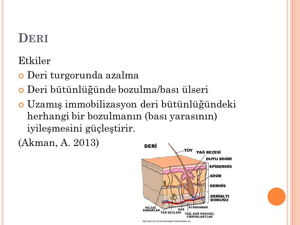D ERI Etkiler Deri turgorunda azalma Deri bütünlüğünde bozulma/bası ülseri Uzamış immobilizasyon deri bütünlüğündeki herhangi bir bozulmanın (bası yarasının) iyileşmesini güçleştirir.