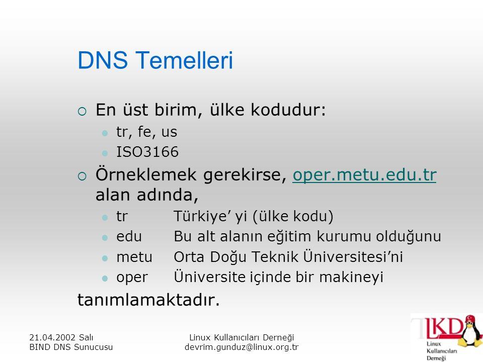 21.04.2002 Salı BIND DNS Sunucusu Linux Kullanıcıları Derneği devrim.gunduz@linux.org.tr DNS Temelleri  En üst birim, ülke kodudur: tr, fe, us ISO3166  Örneklemek gerekirse, oper.metu.edu.tr alan adında,oper.metu.edu.tr trTürkiye' yi (ülke kodu) eduBu alt alanın eğitim kurumu olduğunu metuOrta Doğu Teknik Üniversitesi'ni operÜniversite içinde bir makineyi tanımlamaktadır.