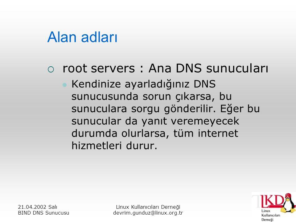 21.04.2002 Salı BIND DNS Sunucusu Linux Kullanıcıları Derneği devrim.gunduz@linux.org.tr Alan adları  root servers : Ana DNS sunucuları Kendinize ayarladığınız DNS sunucusunda sorun çıkarsa, bu sunuculara sorgu gönderilir.
