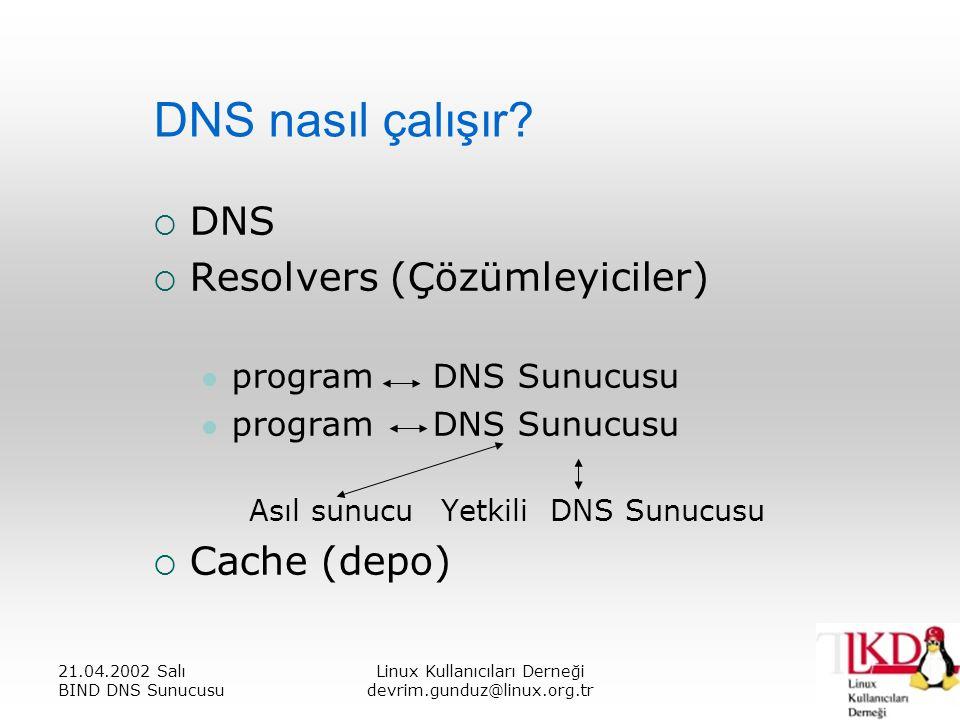21.04.2002 Salı BIND DNS Sunucusu Linux Kullanıcıları Derneği devrim.gunduz@linux.org.tr DNS nasıl çalışır.