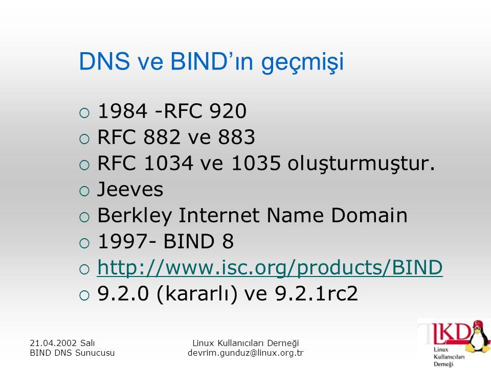 21.04.2002 Salı BIND DNS Sunucusu Linux Kullanıcıları Derneği devrim.gunduz@linux.org.tr DNS ve BIND'ın geçmişi  1984 -RFC 920  RFC 882 ve 883  RFC 1034 ve 1035 oluşturmuştur.