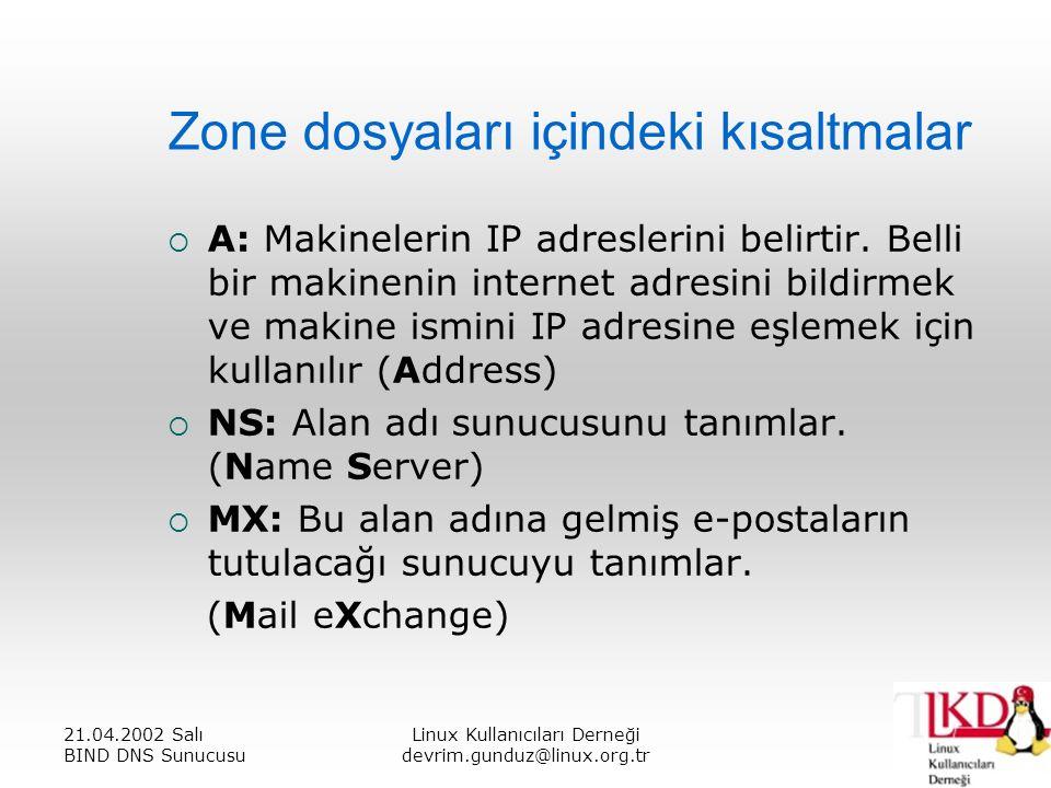 21.04.2002 Salı BIND DNS Sunucusu Linux Kullanıcıları Derneği devrim.gunduz@linux.org.tr Zone dosyaları içindeki kısaltmalar  A: Makinelerin IP adreslerini belirtir.