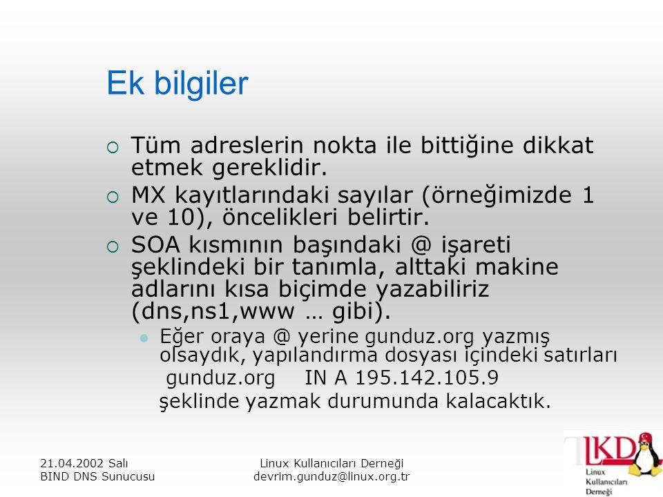 21.04.2002 Salı BIND DNS Sunucusu Linux Kullanıcıları Derneği devrim.gunduz@linux.org.tr Ek bilgiler  Tüm adreslerin nokta ile bittiğine dikkat etmek gereklidir.