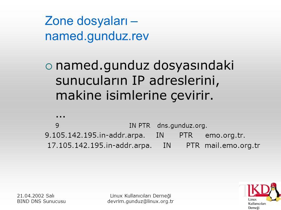 21.04.2002 Salı BIND DNS Sunucusu Linux Kullanıcıları Derneği devrim.gunduz@linux.org.tr Zone dosyaları – named.gunduz.rev  named.gunduz dosyasındaki sunucuların IP adreslerini, makine isimlerine çevirir.