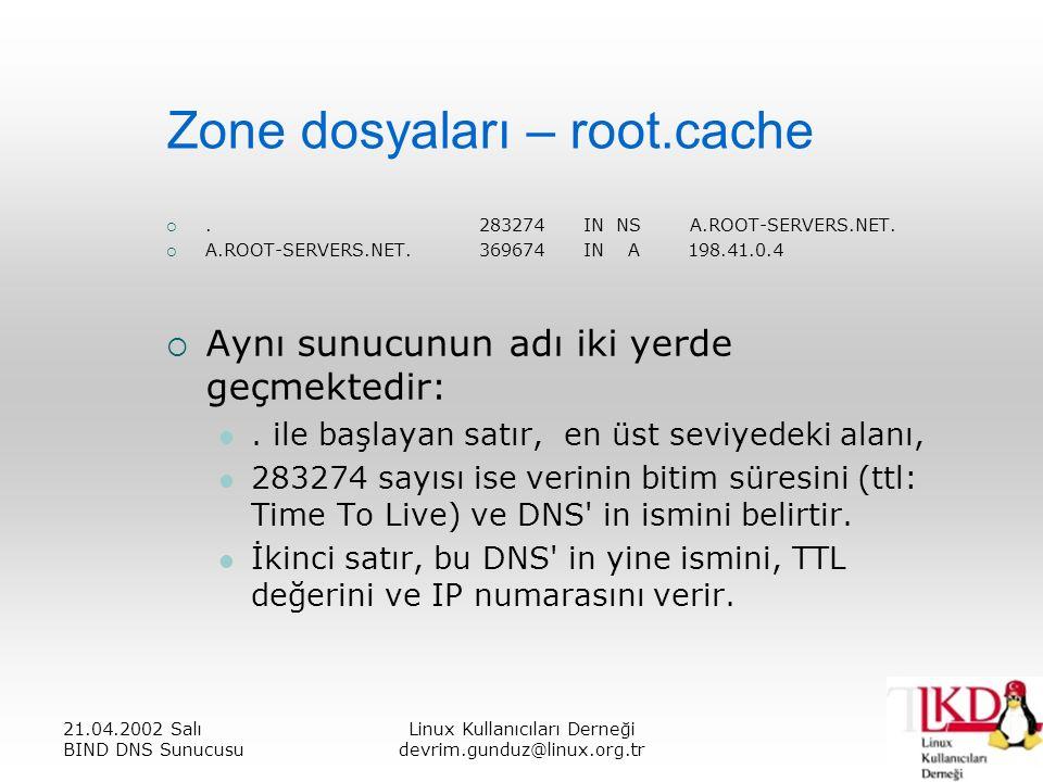 21.04.2002 Salı BIND DNS Sunucusu Linux Kullanıcıları Derneği devrim.gunduz@linux.org.tr Zone dosyaları – root.cache .283274IN NS A.ROOT-SERVERS.NET.
