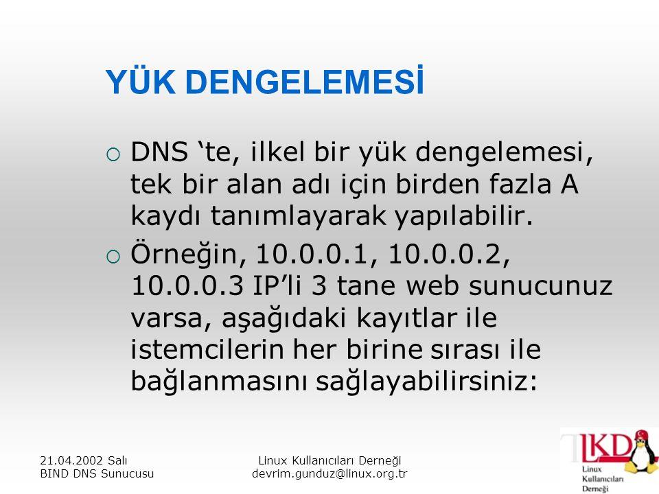 21.04.2002 Salı BIND DNS Sunucusu Linux Kullanıcıları Derneği devrim.gunduz@linux.org.tr YÜK DENGELEMESİ  DNS 'te, ilkel bir yük dengelemesi, tek bir alan adı için birden fazla A kaydı tanımlayarak yapılabilir.