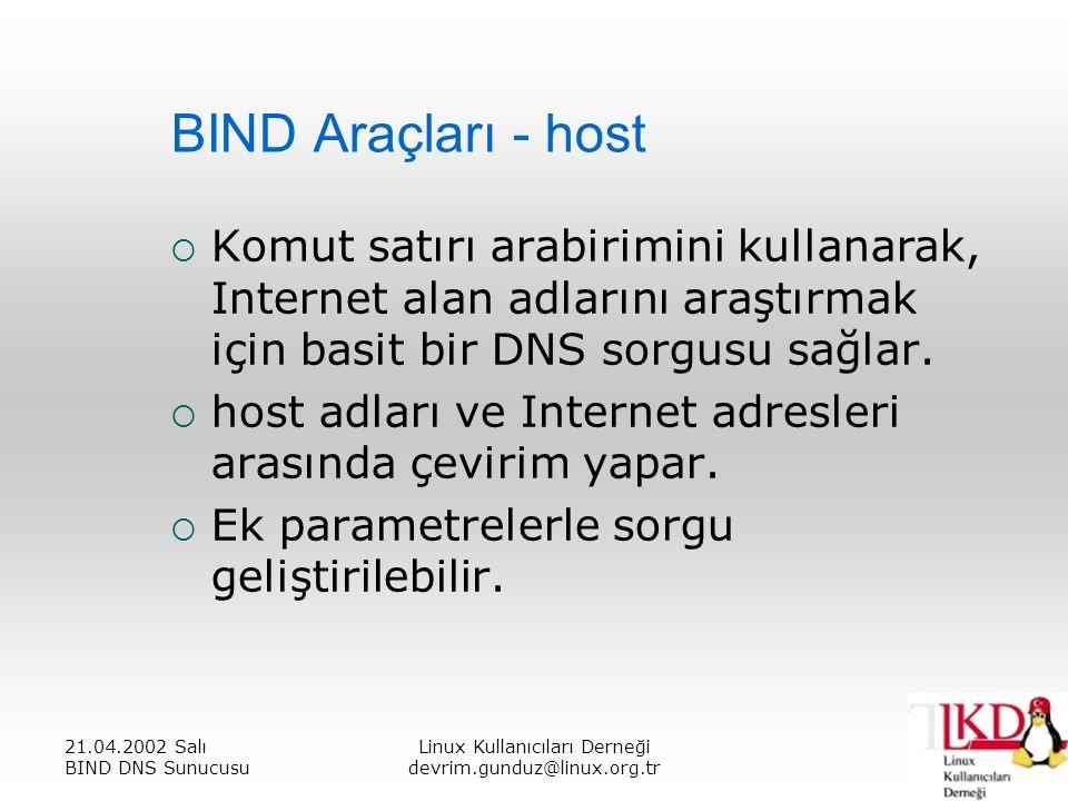 21.04.2002 Salı BIND DNS Sunucusu Linux Kullanıcıları Derneği devrim.gunduz@linux.org.tr BIND Araçları - host  Komut satırı arabirimini kullanarak, Internet alan adlarını araştırmak için basit bir DNS sorgusu sağlar.