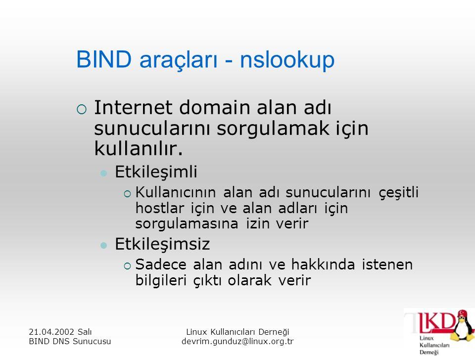 21.04.2002 Salı BIND DNS Sunucusu Linux Kullanıcıları Derneği devrim.gunduz@linux.org.tr BIND araçları - nslookup  Internet domain alan adı sunucularını sorgulamak için kullanılır.