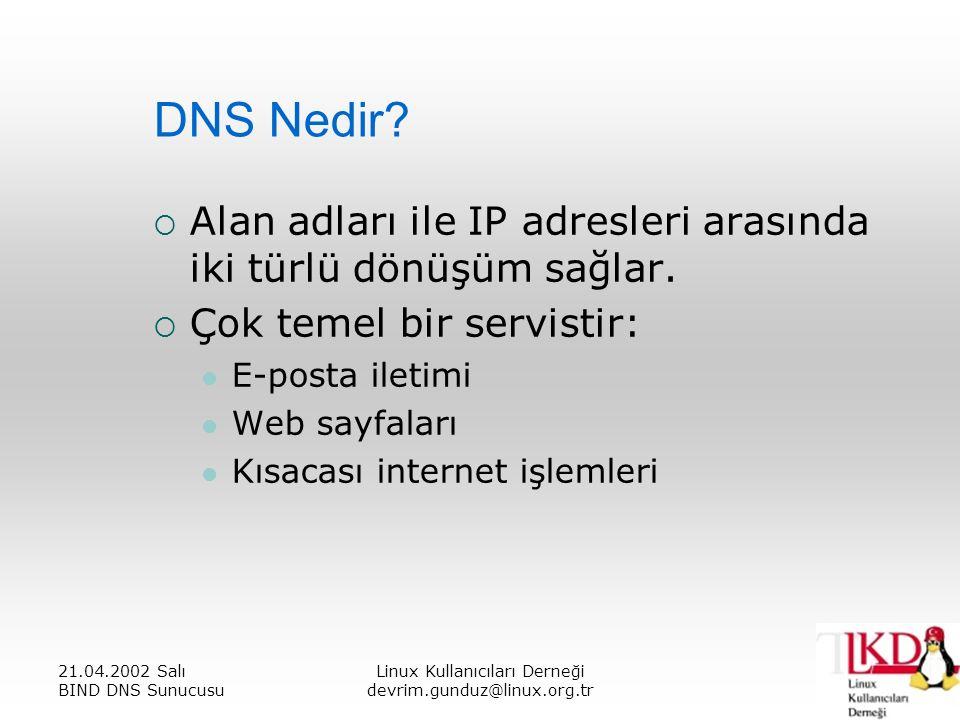 21.04.2002 Salı BIND DNS Sunucusu Linux Kullanıcıları Derneği devrim.gunduz@linux.org.tr DNS Nedir.