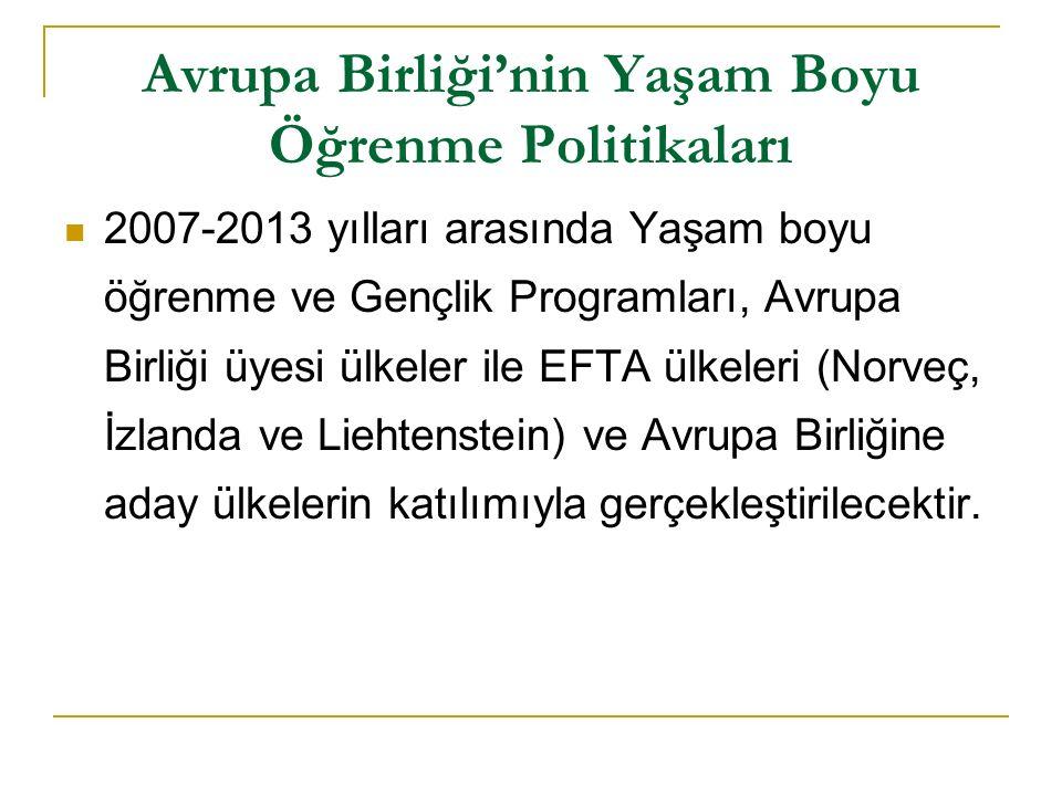 Avrupa Birliği'nin Yaşam Boyu Öğrenme Politikaları 2007-2013 yılları arasında Yaşam boyu öğrenme ve Gençlik Programları, Avrupa Birliği üyesi ülkeler ile EFTA ülkeleri (Norveç, İzlanda ve Liehtenstein) ve Avrupa Birliğine aday ülkelerin katılımıyla gerçekleştirilecektir.