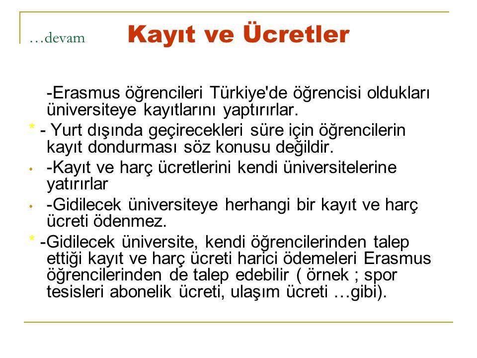 …devam Kayıt ve Ücretler -Erasmus öğrencileri Türkiye de öğrencisi oldukları üniversiteye kayıtlarını yaptırırlar.