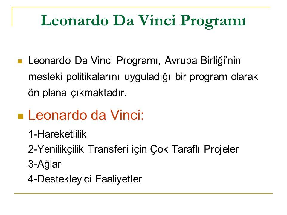Leonardo Da Vinci Programı Leonardo Da Vinci Programı, Avrupa Birliği'nin mesleki politikalarını uyguladığı bir program olarak ön plana çıkmaktadır.
