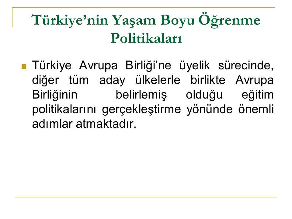 Türkiye'nin Yaşam Boyu Öğrenme Politikaları Türkiye Avrupa Birliği'ne üyelik sürecinde, diğer tüm aday ülkelerle birlikte Avrupa Birliğinin belirlemiş olduğu eğitim politikalarını gerçekleştirme yönünde önemli adımlar atmaktadır.