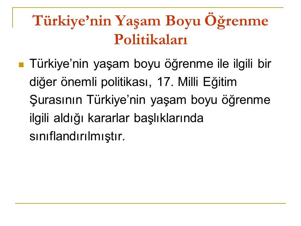 Türkiye'nin Yaşam Boyu Öğrenme Politikaları Türkiye'nin yaşam boyu öğrenme ile ilgili bir diğer önemli politikası, 17.