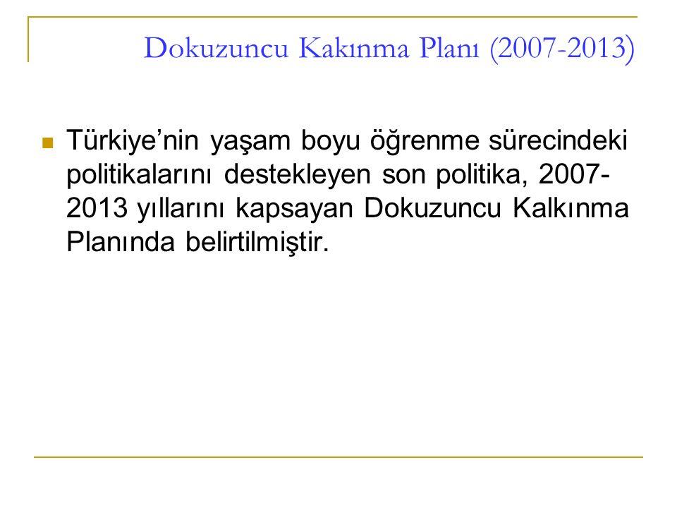 Dokuzuncu Kakınma Planı (2007-2013 ) Türkiye'nin yaşam boyu öğrenme sürecindeki politikalarını destekleyen son politika, 2007- 2013 yıllarını kapsayan Dokuzuncu Kalkınma Planında belirtilmiştir.