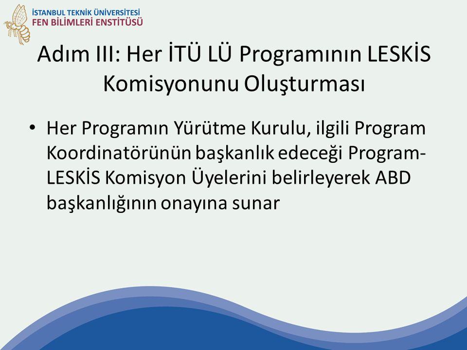 Adım III: Her İTÜ LÜ Programının LESKİS Komisyonunu Oluşturması Her Programın Yürütme Kurulu, ilgili Program Koordinatörünün başkanlık edeceği Program- LESKİS Komisyon Üyelerini belirleyerek ABD başkanlığının onayına sunar