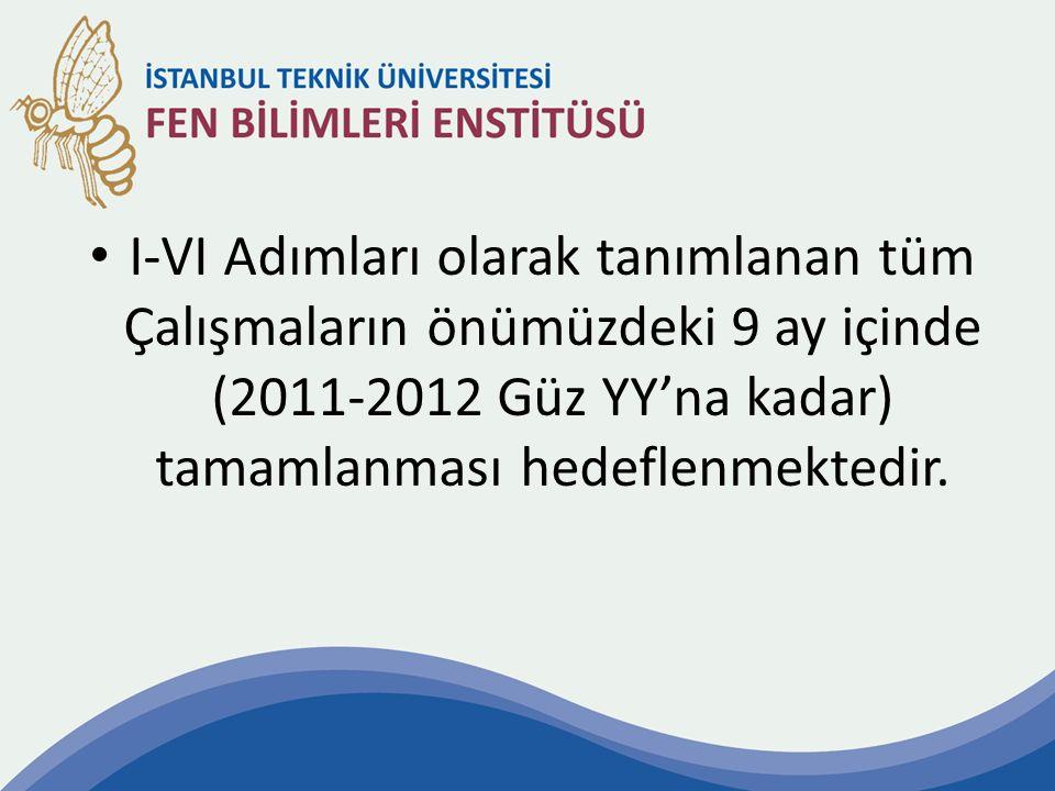 I-VI Adımları olarak tanımlanan tüm Çalışmaların önümüzdeki 9 ay içinde (2011-2012 Güz YY'na kadar) tamamlanması hedeflenmektedir.