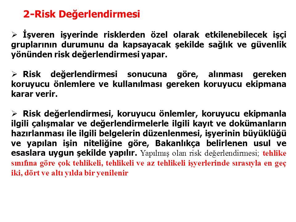 2- Risk Değerlendirmesi  İşveren işyerinde risklerden özel olarak etkilenebilecek işçi gruplarının durumunu da kapsayacak şekilde sağlık ve güvenlik yönünden risk değerlendirmesi yapar.