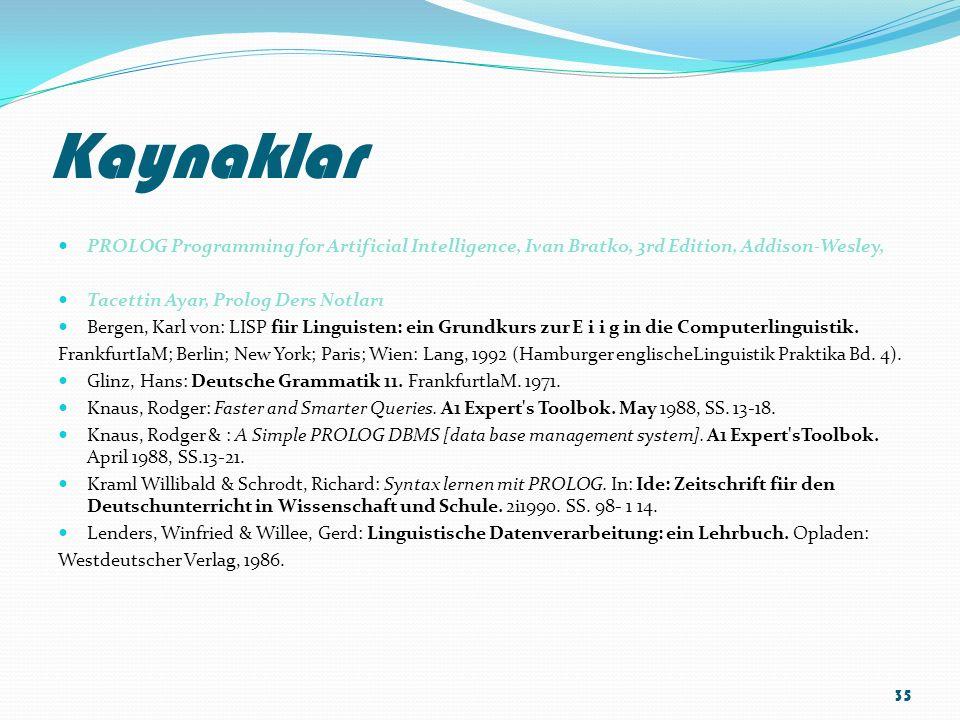 Kaynaklar PROLOG Programming for Artificial Intelligence, Ivan Bratko, 3rd Edition, Addison-Wesley, Tacettin Ayar, Prolog Ders Notları Bergen, Karl vo