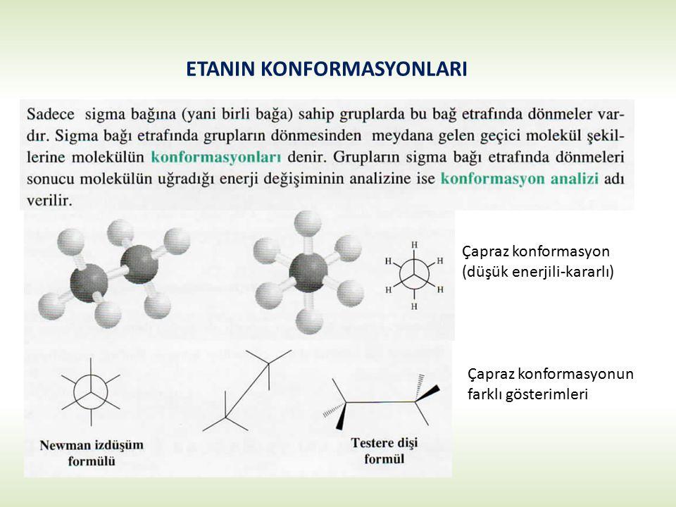 ETANIN KONFORMASYONLARI Çapraz konformasyon (düşük enerjili-kararlı) Çapraz konformasyonun farklı gösterimleri