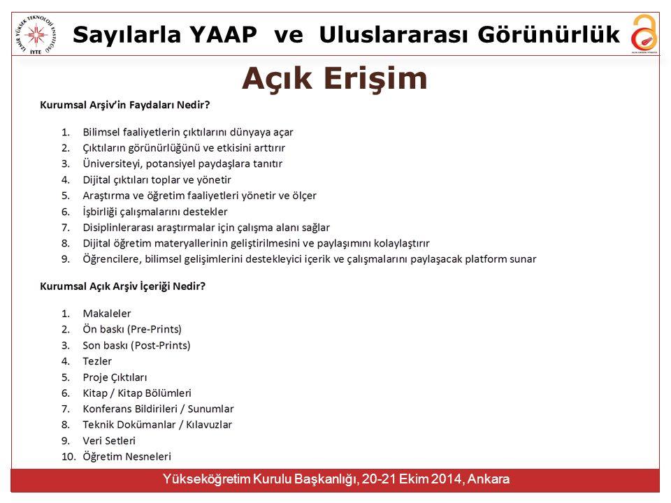 Sayılarla YAAPve Uluslararası Görünürlük Yükseköğretim Kurulu Başkanlığı, 20-21 Ekim 2014, Ankara Açık Erişim