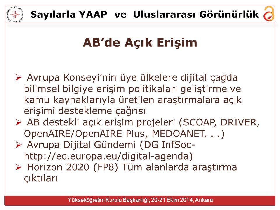 Sayılarla YAAPve Uluslararası Görünürlük Yükseköğretim Kurulu Başkanlığı, 20-21 Ekim 2014, Ankara AB'de Açık Erişim  Avrupa Konseyi'nin üye ülkelere
