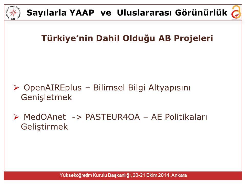Sayılarla YAAPve Uluslararası Görünürlük Yükseköğretim Kurulu Başkanlığı, 20-21 Ekim 2014, Ankara Türkiye'nin Dahil Olduğu AB Projeleri  OpenAIREplus – Bilimsel Bilgi Altyapısını Genişletmek  MedOAnet -> PASTEUR4OA – AE Politikaları Geliştirmek