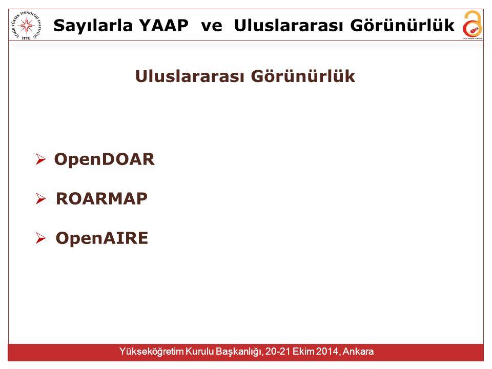 Sayılarla YAAPve Uluslararası Görünürlük Yükseköğretim Kurulu Başkanlığı, 20-21 Ekim 2014, Ankara Uluslararası Görünürlük  OpenDOAR  ROARMAP  OpenAIRE