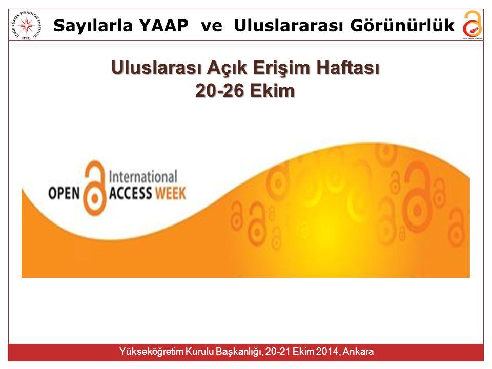 Sayılarla YAAPve Uluslararası Görünürlük Yükseköğretim Kurulu Başkanlığı, 20-21 Ekim 2014, Ankara Araştırmacılar makalelerini yayıncıya ücretsiz veriyor Araştırmacılar telif haklarını yayıncıya ücretsiz veriyor Diğer araştırmacılar ücretsiz hakemlik yapıyorlar Üniversiteler bu makalelere erişim için yüksek ücretler ödüyorlar Yayıncılar makaleleri telif hakları ve emek ücreti vermeden yazardan alıp, erişim için yüksek ücretler talep ediyorlar Kaynak: Do You Know Your Rights About What You Write? http://openaccess.commons.gc.cuny.edu/files/2012/05/OA-poster-Faculty-Day-2012-small.pdf Neden ortaya çıktı?
