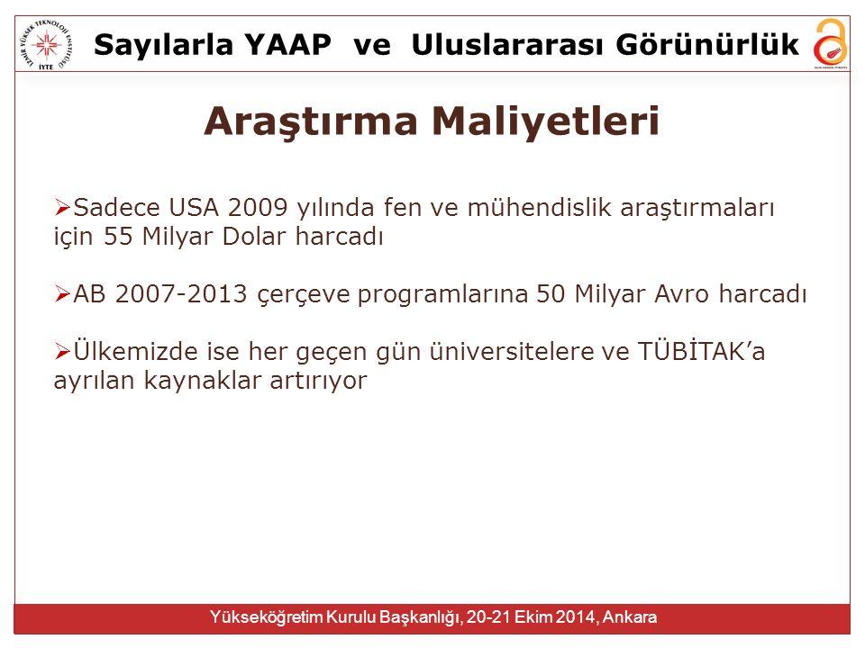 Sayılarla YAAPve Uluslararası Görünürlük Yükseköğretim Kurulu Başkanlığı, 20-21 Ekim 2014, Ankara Araştırma Maliyetleri  Sadece USA 2009 yılında fen ve mühendislik araştırmaları için 55 Milyar Dolar harcadı  AB 2007-2013 çerçeve programlarına 50 Milyar Avro harcadı  Ülkemizde ise her geçen gün üniversitelere ve TÜBİTAK'a ayrılan kaynaklar artırıyor
