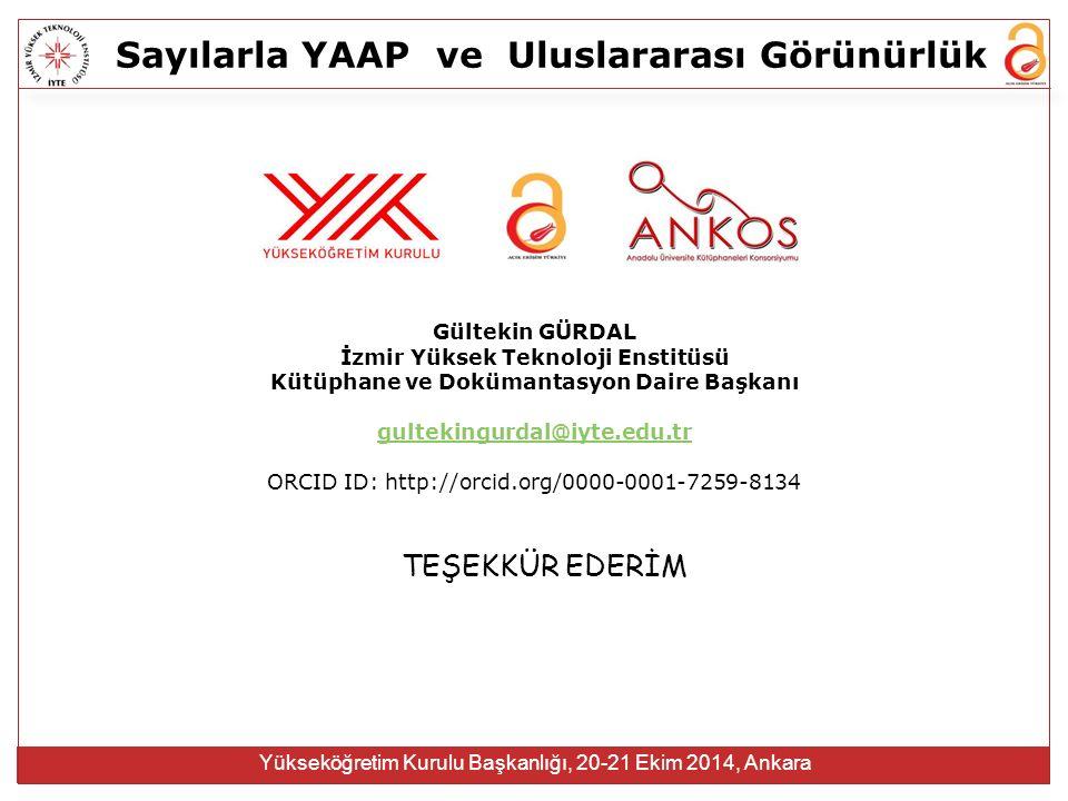 Sayılarla YAAPve Uluslararası Görünürlük Yükseköğretim Kurulu Başkanlığı, 20-21 Ekim 2014, Ankara TEŞEKKÜR EDERİM Gültekin GÜRDAL İzmir Yüksek Teknoloji Enstitüsü Kütüphane ve Dokümantasyon Daire Başkanı gultekingurdal@iyte.edu.tr ORCID ID: http://orcid.org/0000-0001-7259-8134