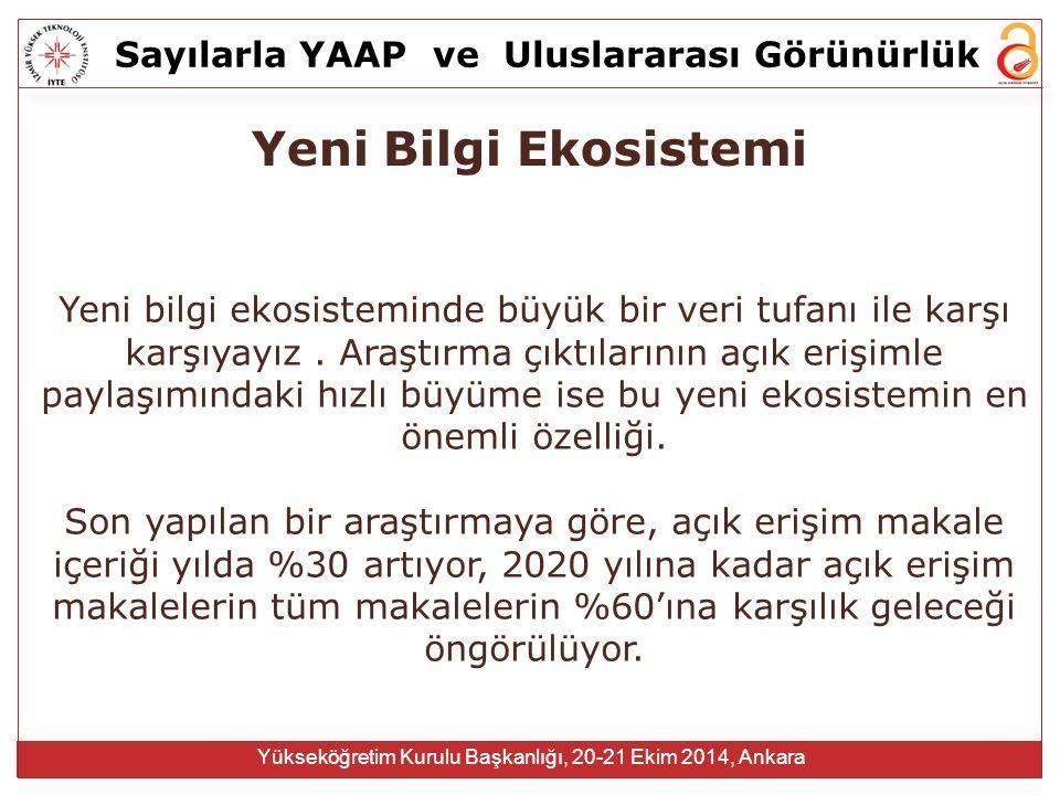 Sayılarla YAAPve Uluslararası Görünürlük Yükseköğretim Kurulu Başkanlığı, 20-21 Ekim 2014, Ankara Yeni Bilgi Ekosistemi Yeni bilgi ekosisteminde büyük bir veri tufanı ile karşı karşıyayız.