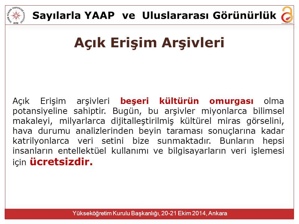 Sayılarla YAAPve Uluslararası Görünürlük Yükseköğretim Kurulu Başkanlığı, 20-21 Ekim 2014, Ankara  Erişim hızını artırır  Görünürlüğünü artırır  Dünya çapında etkisini artırır  Keşif / Yeni araştırmaya olanak sağlar  Daha iyi değerlendirme, daha iyi izleme, daha iyi araştırma yönetimi sağlar Sonuç => inovasyon, prestij, fon Bir Yayının Açık Erişim Olması