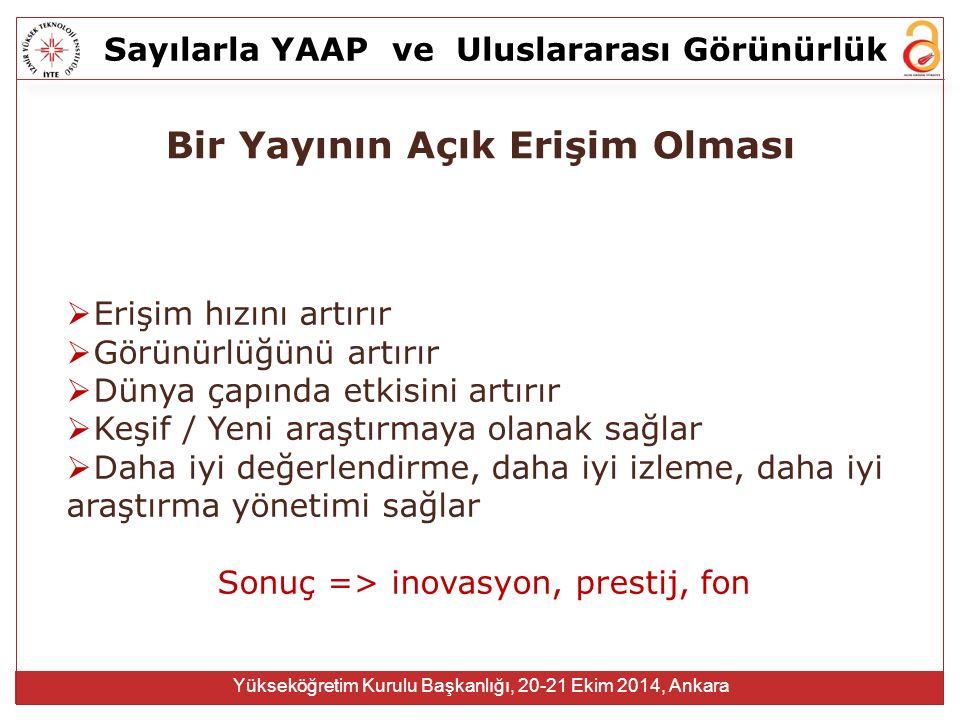Sayılarla YAAPve Uluslararası Görünürlük Yükseköğretim Kurulu Başkanlığı, 20-21 Ekim 2014, Ankara  Erişim hızını artırır  Görünürlüğünü artırır  Dü