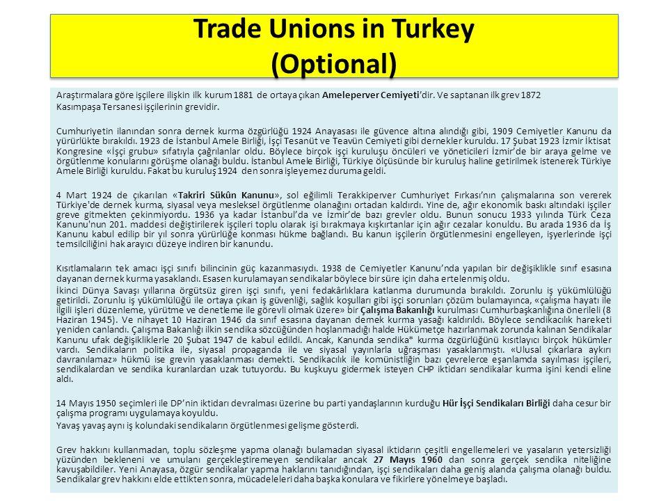 Trade Unions in Turkey (Optional) Araştırmalara göre işçilere ilişkin ilk kurum 1881 de ortaya çıkan Ameleperver Cemiyeti'dir. Ve saptanan ilk grev 18
