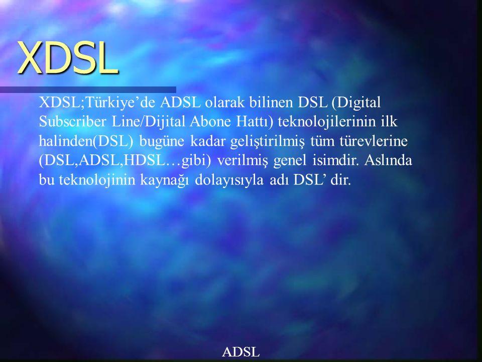 XDSL ADSL XDSL;Türkiye'de ADSL olarak bilinen DSL (Digital Subscriber Line/Dijital Abone Hattı) teknolojilerinin ilk halinden(DSL) bugüne kadar geliştirilmiş tüm türevlerine (DSL,ADSL,HDSL…gibi) verilmiş genel isimdir.