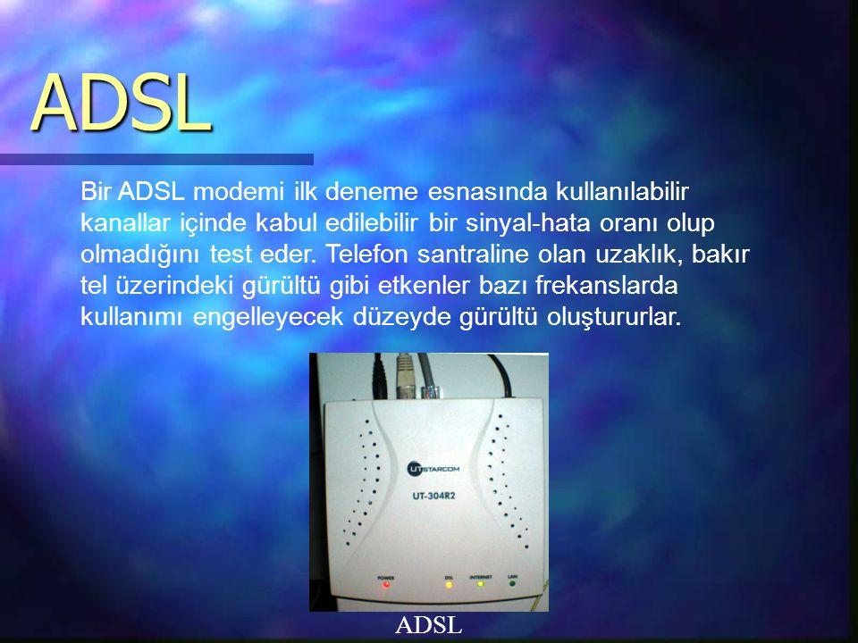 ADSL ADSL Bir ADSL modemi ilk deneme esnasında kullanılabilir kanallar içinde kabul edilebilir bir sinyal-hata oranı olup olmadığını test eder.