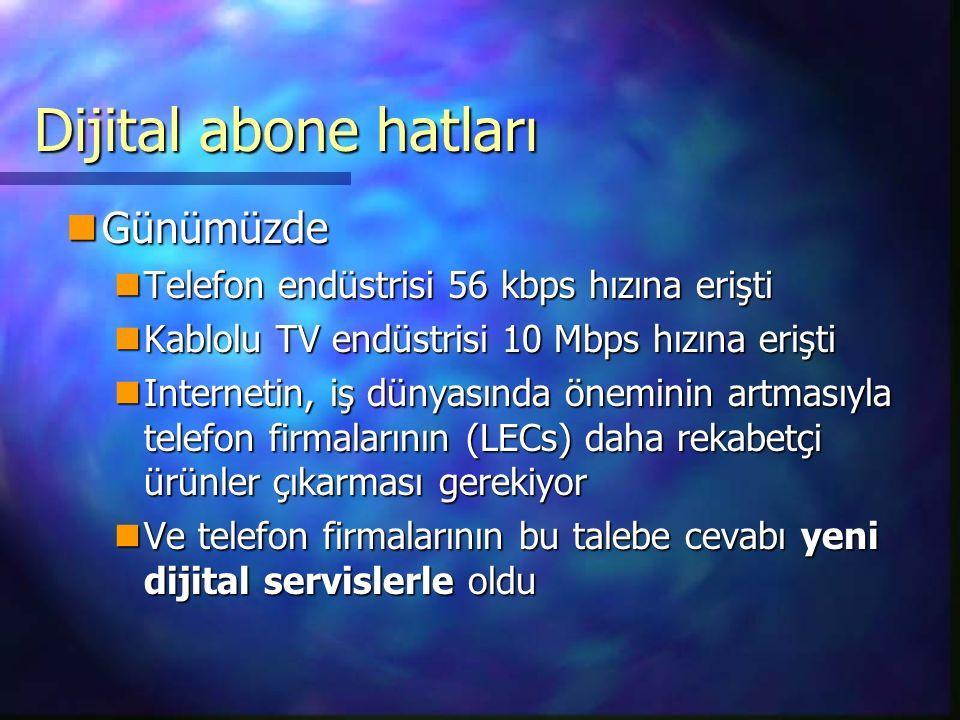Dijital abone hatları Günümüzde Günümüzde Telefon endüstrisi 56 kbps hızına erişti Telefon endüstrisi 56 kbps hızına erişti Kablolu TV endüstrisi 10 Mbps hızına erişti Kablolu TV endüstrisi 10 Mbps hızına erişti Internetin, iş dünyasında öneminin artmasıyla telefon firmalarının (LECs) daha rekabetçi ürünler çıkarması gerekiyor Internetin, iş dünyasında öneminin artmasıyla telefon firmalarının (LECs) daha rekabetçi ürünler çıkarması gerekiyor Ve telefon firmalarının bu talebe cevabı yeni dijital servislerle oldu Ve telefon firmalarının bu talebe cevabı yeni dijital servislerle oldu